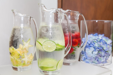 Natural flavored jugs with water