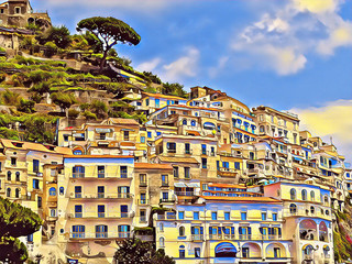 Old Italian town on a mountain. Amalfi terraces with white houses digital illustration.