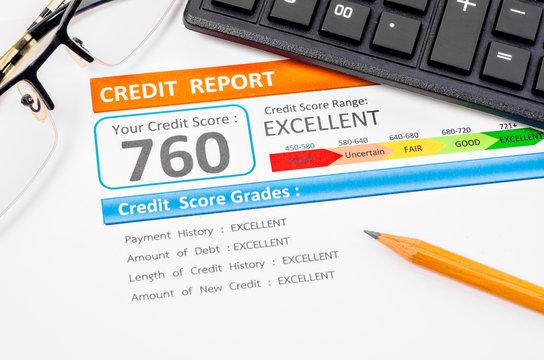Credit score report.