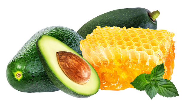 honey and avocado   with leaf mint isolated