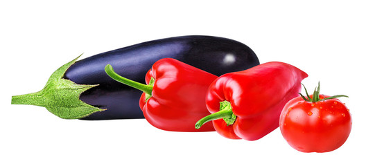 tomatoes,eggplant and pepper on a white background