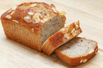 Slice Homemade almond banana bread cake