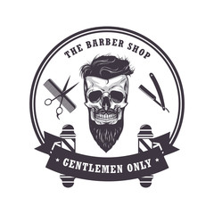 Skull Barber Shop Logo Retro Vintage Design Template. Vector Illustration