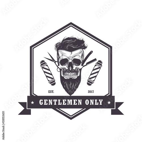 """Skull Barber Shop Hexagonal Logo Retro Vintage Design ..."