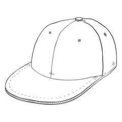 Vector Sketch Retro Baseball Cap with Flat Peak
