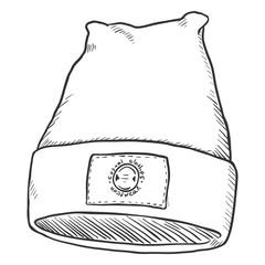 Vector Sketch Winter Textile Cap with Label.