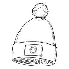 Vector Single Sketch Hat with Pompom