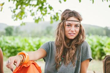 Hippie girl with long hair