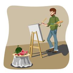 Artist drawing still life