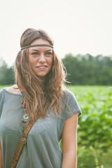 Girl in hippie style wearing headband