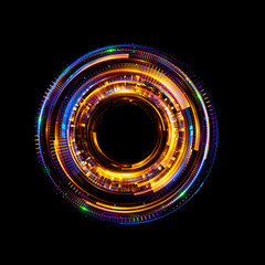 Orb neon rays. luminous hole. Spiral cover.  Black neural HUD. Halo around. Power isolated. Sparks particle. Space tunnel. Glossy face. LED color ellipse. Glint gold glitter. Glow clock