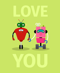 Love you card with robots