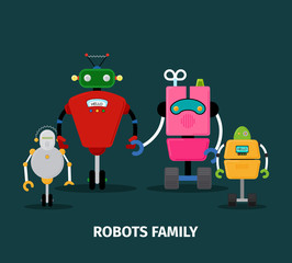 Robots family with kids
