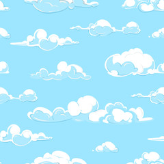 Cartoon vector clouds weather seamless pattern in pastel colors