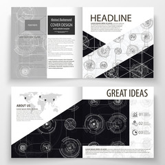 Business templates for square bi fold brochure, magazine, flyer. Leaflet cover, flat layout. High tech design, connecting system. Science and technology concept. Futuristic abstract vector background.