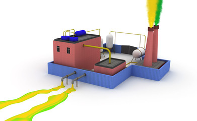 3D Chemical plant polluting the environment
