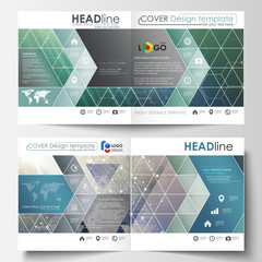 Business templates for square design bi fold brochure, magazine, flyer, booklet. Leaflet cover, vector layout. Chemistry pattern, hexagonal molecule structure. Medicine, science, technology concept.