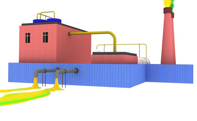 3D Chemical plant polluting the environment with blue fence