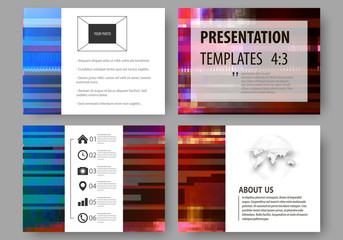 Business templates for presentation slides. Abstract layouts in vector design. Glitched background made of colorful pixel mosaic. Digital decay, signal error, television fail. Trendy glitch backdrop.