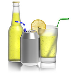 Limonata, bicchiere bottiglia lattina..Bevanda rinfrescante isolata su sfondo bianco..