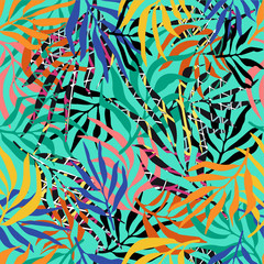 Seamless pattern with palm leaves. Color tropical background. Jungle.