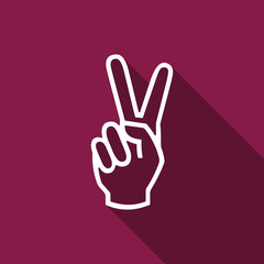 Victory hand sign icon. Hand showing two finger flat icon with long shadow. Vector Illustration