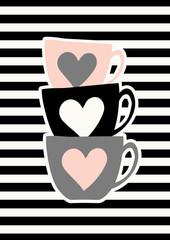 Fototapete - Cute Cups Poster Design
