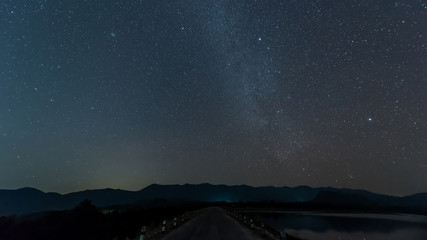 Milky way over reservoir with mountain night