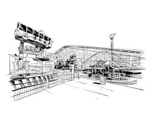 Mexico. Six flags amusement park. Hand drawn vector illustration.