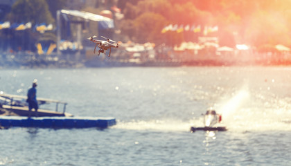 drone and  powerboat. proffesional photo and video reportage. instagram filter. creative image