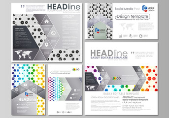 Social media posts set. Business abstract templates, vector layouts in popular formats. Chemistry pattern, hexagonal design molecule structure, medical DNA research. Geometric colorful background.
