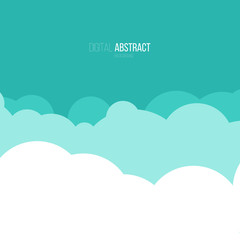 Cartoon clous on blue sky in flat style. Abstract digital geometric background.