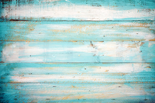 vintage beach wood background - old blue color wooden plank