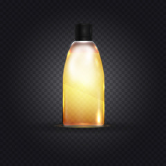 Realistic beautiful perfume bottle isolated on transparent background. Template or mockup for branding, print and other projects. Fashion style vector illustration. Eps 10.