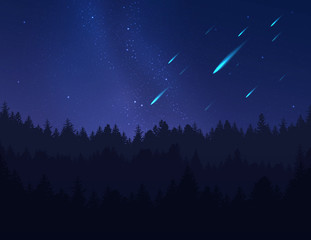 Falling Stars, asteroids or meteors in night sky over forest. Vector illustration.