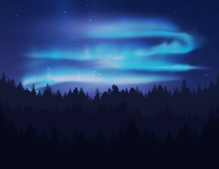 Beautiful northern lights in night sky over forest. Vector illustration.