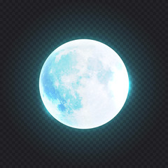 Beautiful realistic detailed full blue moon isolated on transparent background. Vector illustration. Easy to use.