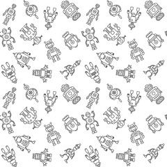 Lamas personalizadas infantiles con tu foto Seamless pattern of funny retro robots in vintage hipster style. Cartoon cute background. Vector illustration.