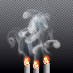 Realistic burning cigarette with smoke. Vector illustration on transparent background.
