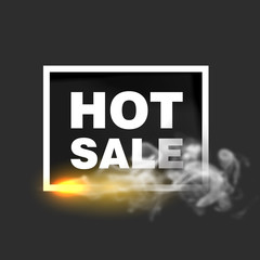 Hot sale design template. Square frame with fire and smoke on simple background. Vector illustration.