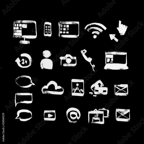 Hand Drawn Dry Brush Style Social Media Icons Set White Letters On The Black Background