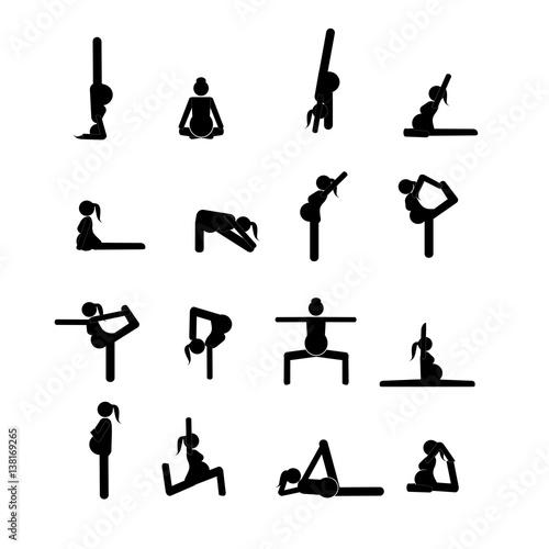 Stick figures. Pregnant woman doing yoga poses.\