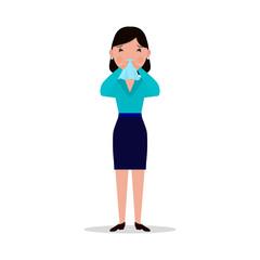 Vector cartoon woman caught cold, sneeze, ill flu