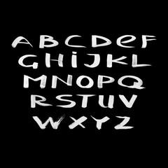 Hand drawn dry brush style Roman alphabet.  Vector illustration.