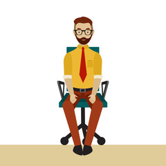 Man in business clothes is doing exercises for back on the office chair. Businessman in healthy pose with straight back.