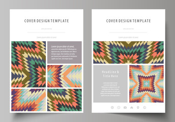Business templates for brochure, flyer, booklet. Cover design template, abstract vector layout in A4 size. Tribal pattern, geometrical ornament, ethno syle, ethnic backdrop, vintage fashion background