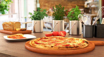 Pizza on wooden table