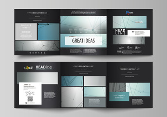 Set of business templates for tri fold square design brochures. Leaflet cover, vector layout Geometric background, connected line and dots. Molecular structure. Scientific, medical, technology concept