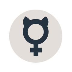 Icono plano femenino con orejas gato en círculo gris