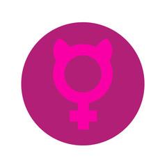 Icono plano femenino con orejas gato en círculo violeta